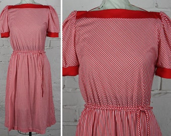 Vintage 80s Miss Oops Red & White Peppermint Stripe Jersey Sun Dress S M L