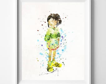 Spirited Away Print, Chihiro Watercolor, Ghibli Poster, Ghibli Gift, Ghibli Art Decor, Nursery Posters, Nursery Artwork, Valentines Day Gift