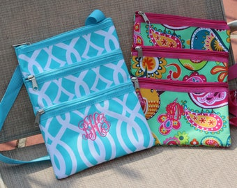 Crossbody Handbag/  Monogrammed / NEW BRIGHT Summer Prints!