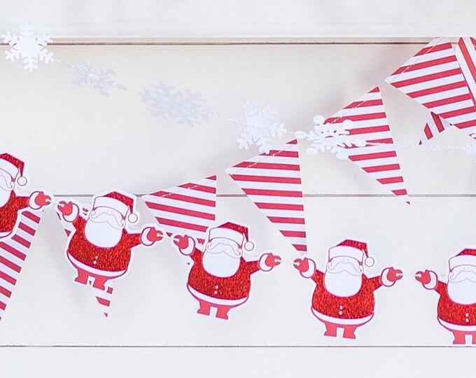 Santa Claus Banner, Chistmas DecorationsHoliday Banner, Paper Holiday Banner, Merry Christmas Banner, Santa Claus, hyp406