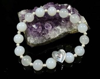 White Agate Bracelet -Sterling Silver Beads, 8mm, Grade 5A, Mom Bracelet, Mother's Bracelet, Sterling Heart Mom Bead, Birthday Gift for Mom