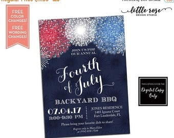 Fourth of July Party Invitations - Memorial Day Invite - Labor Day Invitation - 4th of July BBQ - Red White and Blue Birthday - Printable