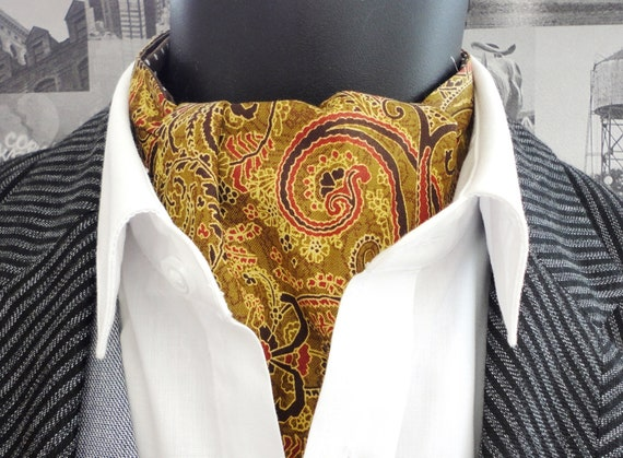 Reversible Paisley Cravat, mustard paisley cravat, brown with white spots on reverse side.