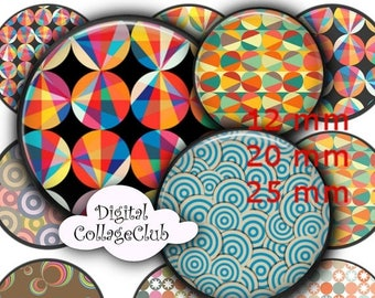 80 % off Graphics SaLe Retro Circles Digital Collage Sheet Digital Images for Pendants Bottle Cap Images for Jewelry Making, 12 mm, 20 mm Do
