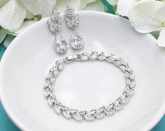 Bridal Earrings Set, Wedding Earrings and Bracelet, Silver Bridal Jewelry,  Earrings Bracelet Jewelry Set 544806107