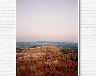 Bryce Canyon and Moonrise Print -Big Wall Art, Oversized Art, Desert Wall Art, Boho Art, Minimalist Art, Modern Wall Art, Nature Photography