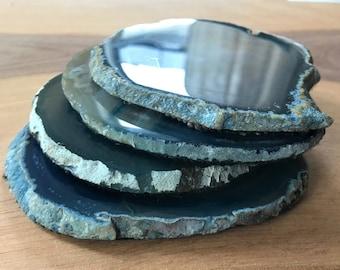 Vintage Blue Agate Coasters Set Of 4 Drinkware Barware Home Dining Kitchen Hippie Boho
