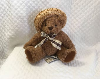 """Ganz Bear, Emily, 1992, Heritage Collection, H765BS, Straw Hat and Ribbon, 5"""" Tall Sitting, Nubby Fur, Velveteen Paw Pads"""
