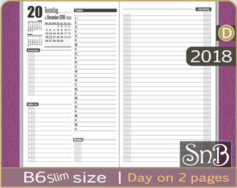 SnB B6slim - First Edition - Day on 2 pages - 2017 / 2018 - Printable Daily insert for Traveler's Notebooks