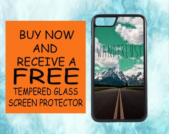Wanderlust Case With FREE Tempered Glass Screen Protector For iPhone 8 iPhone 8 Plus iPhone 7 iPhone 7 Plus iPhone X