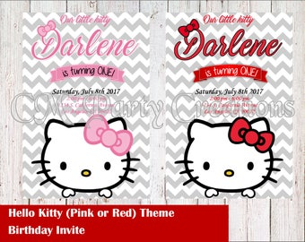 Hello Kitty Birthday Invitation (Red, Pink, Pink and Red, Polka Dot White Red)