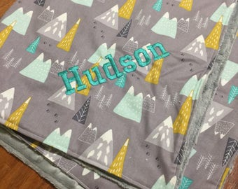 Baby/Toddler Blanket// Trendy// Mountains//Minky//Crib size