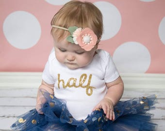 Gold Half Birthday Outfit! 6 month pictures baby girl photoshoot