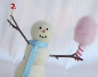 Felt snowman sculpture, needle felted snowman, cotton candy, lollipop, fun snowman, handmade unique snowman, wool snowman, fiber arts