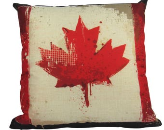 Vintage Grunge Canadian Maple Leaf Pillow Cover