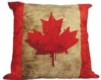 Grunge Look Canadian Flag - Maple Leaf Pillow Cover