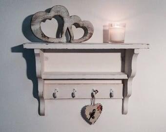 Reclaimed Vintage pine shelf with hooks 50cm
