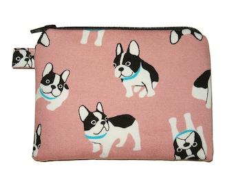 Pink French Bulldog Zipper Pouch - Small Coin Purse - Padded Pouch - Dog Purse - Pink Purse - Kawaii Purse - French Bulldog Purse