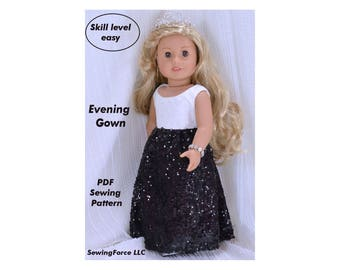 Evening Gown Dress, 18 inch Doll Clothes pattern, PDF  Sewing Pattern fits most 18 inch dolls, American Girl doll clothes patterns, dress