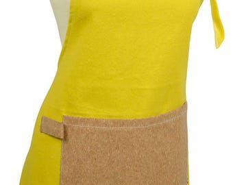 Kitchen apron in yellow fabric cotton fabric and Cork