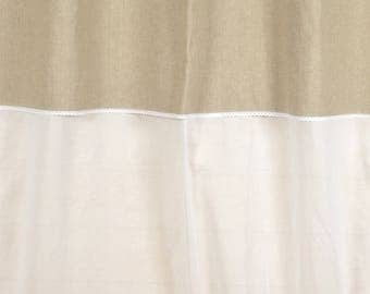 """Curtain """"FANNY linen"""" 150 X 250 with lace and sheer white"""