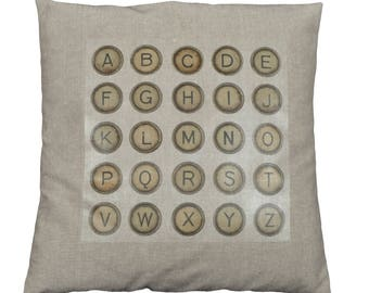 "Cushion 40x40cm removable ""Letters"" pattern"