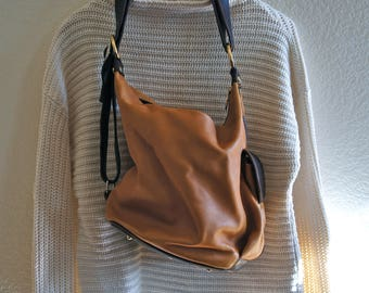 90s vintage Marino Orlandi two tone brown leather purse handbag shoulder bag genuine leather made in Italy