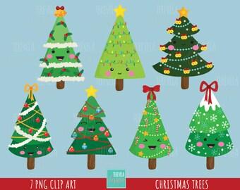 50% SALE CHRISTMAS TREES clipart, christmas clipart, commercial use, christmas graphics,  instant download, Kawaii christmas tree graphics
