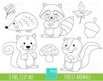 80% SALE forest animalis stamp, digi stamp, commercial use, fall clipart, woodland stamps, autumn stamps, coloring page, cute animals