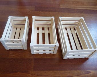Set of 3 wooden crates ,  wood storage box, Unfinished Unpainted Wood Crate, wood dispaly painting decoupage, unfinished box, Wedding boxes