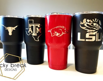 College YETI or OZARK Custom Powder Coated Team Yeti Cup Tumbler 20oz 30oz