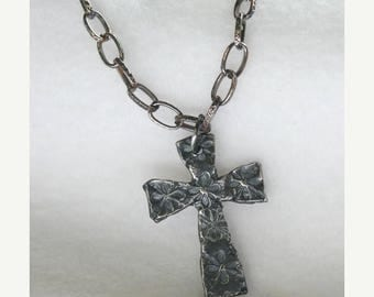 """JULY SALE NOW Reduced rustic cross necklace built from metal clay - pure silver, oxidized and presented on an oxidized silver chain 24"""" in l"""
