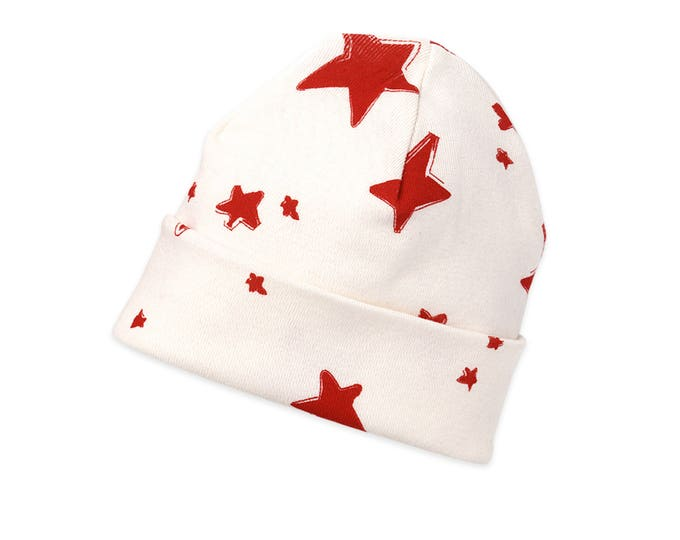 Newborn Red Stars Hat, Star Newborn Baby Hat, Baby Hat for Girls, Baby Boy Beanies, Baby Girl Beanies, Stars, Tesababe