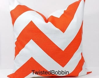 SALE Pillow cover.Tangelo and white pillow cover.18x18. Zippy. Chevron.Designer pillow.orange cushion cover