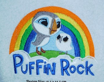 Puffin Rock (465) - Embroidered Cotton Bath Towel