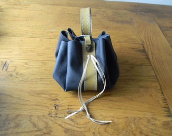 Leather purse for make-up, jewelry, toiletries case