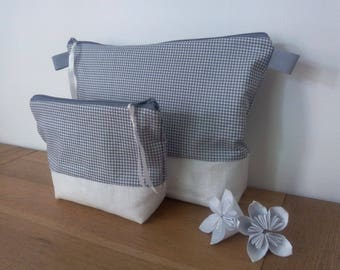 Duo waterproof toiletry off gray white grid with or without handle