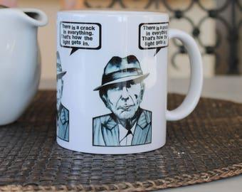 Leonard Cohen Mug Illustrated Coffee Mug Ceramic Mug Gift for Poet Quote Gift Under 20 Dollars Monochrome Mug Portrait Mug Inspirational Mug