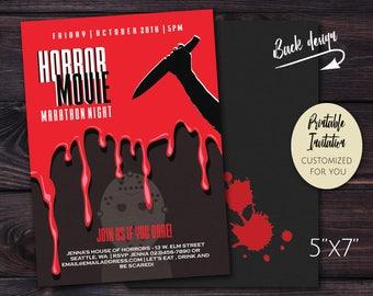 Horror Movie Marathon   Halloween Scary Movie Night Fright Fest   Printable PDF