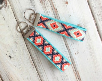 Aztec Inspired Key fob, key ring