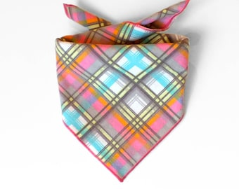 Tie On Pink Plaid Dog Bandana, Dog Scarf, tie bandana, pet bandana, doggy scarf , scarf for dogs
