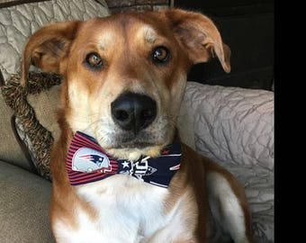 Patriots Dog Bow Tie, Cat Bow Tie, pet bow tie, collar bow tie, wedding bow tie, new england