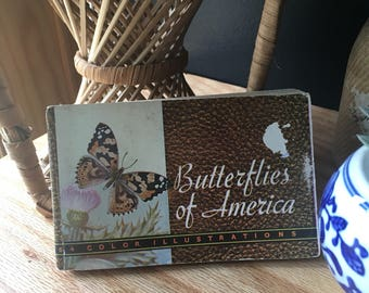 Vintage Ilustrated Butterfly Pocket Field Guide Book 1934 Whitmans boho jungalow