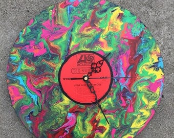 Ted Nugent hand painted psychedelic record clock