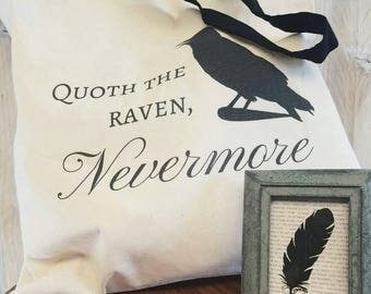 Nevermore Tote Bag | Edgar Allen Poe Quote | The Raven Tote | Halloween Candy Bag | Lightweight Cotton Bag | Quoth the Raven, Nevermore