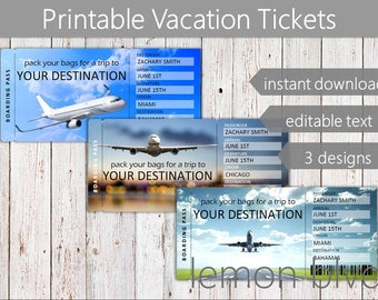 Surprise Trip Tickets | Vacation Ticket Instant Digital Download | Editable Text | Boarding Pass | Printable Vacation Gift Ticket Surprise