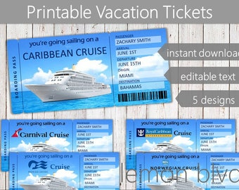 Cruise Tickets | Cruise Ticket Instant Digital Download | Editable Text | Surprise Vacation Boarding Pass | Printable Vacation Gift Ticket