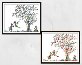 Tree swing print. Nursery wall art, Nursery prints, nursery decor, Kids wall art, children's wall art, children playing on a swing mosaic