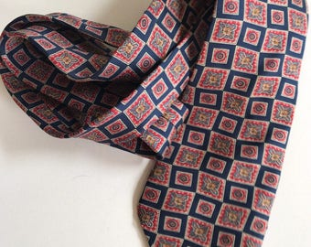 LIBERTY of LONDON Silk Tie Necktie Red Rectangular Pattern on Blue Made in USA
