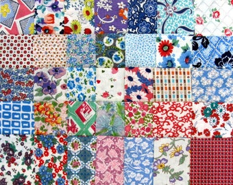 """30 Vintage Feedsack 5"""" Charm Squares - Authentic Feed Sack Cotton Quilt Fabric / 1930's"""